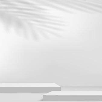 白い色の幾何学的な3d表彰台と抽象的な背景。ベクトルイラスト