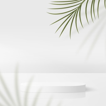 Abstract background with white color geometric 3d podiums.