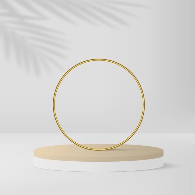白い色の幾何学的な3d表彰台と抽象的な背景