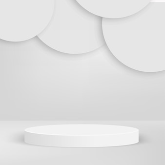Abstract background with white color geometric 3d podiums