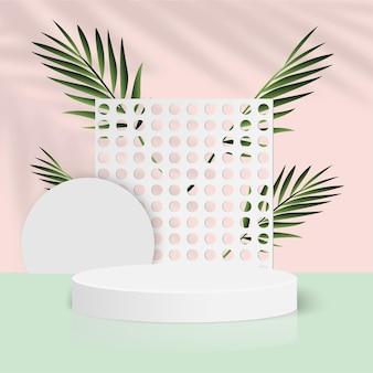 白い幾何学的な3d表彰台と抽象的な背景。ベクトルイラスト。