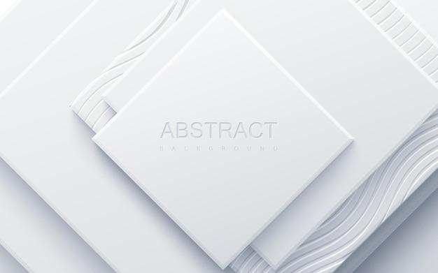 물결 모양의 새겨진 패턴으로 질감 흰색 기하학적 사각형으로 추상적 인 배경