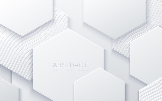 Abstract background with white hexagonal shapes and engraved wavy pattern