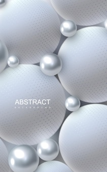 Abstract background with white and silver balls