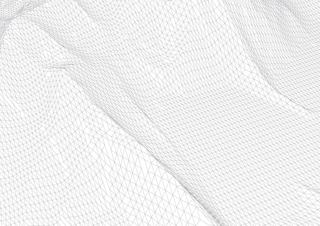 Abstract background with wireframe terrain in black and white