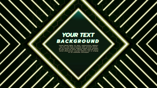 Abstract background with with neon light in diamond square and line.