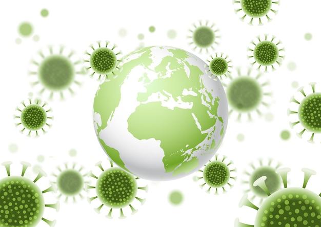 Sfondo astratto con un globo del mondo e un design di cellule virali