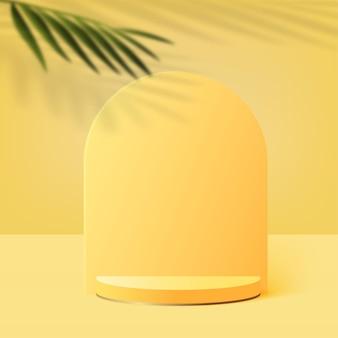 黄色の幾何学的な3d表彰台と抽象的な背景。ベクトルイラスト