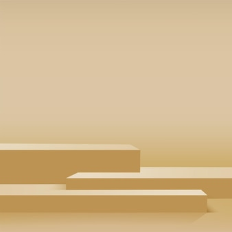 黄色の幾何学的な3d表彰台と抽象的な背景