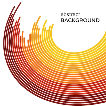 黄色の線で抽象的な背景。白い背景の上のテキストの場所と黄色の円。
