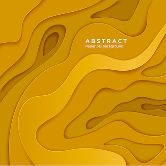 Abstract background with yellow paper cut shapes. layer color wavy paper.  for business poster and presentation.  illustration