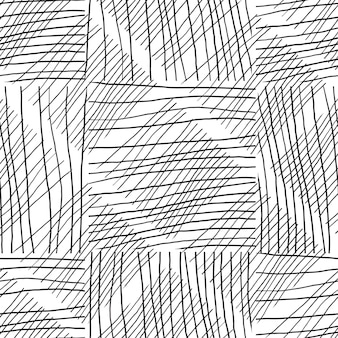 Abstract background withc handmade lines. black and white seamless pattern hand drawn texture. design for fabric, textile print, wrapping paper