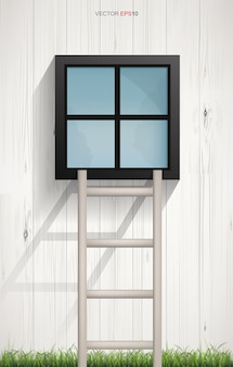 Abstract background of wooden ladder and square window on wooden wall texture