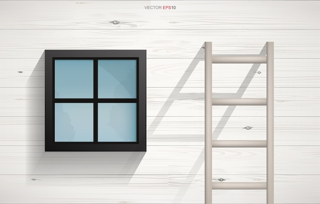 Abstract background of wooden ladder and square window