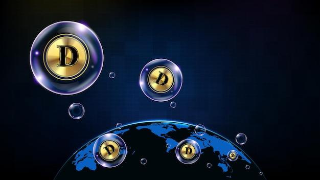 Абстрактный футуристический технологический фон пузыря doge монета цифровой криптовалюты и карта мира