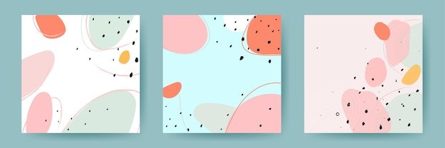 Abstract backgrounds. hand drawn various shapes and doodle objects. contemporary modern trendy vector illustrations.