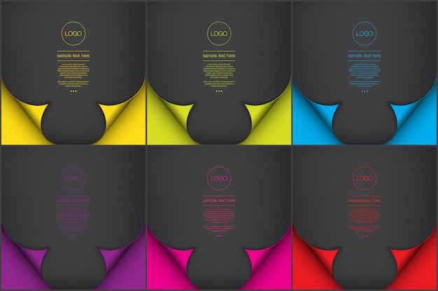Abstract backgrounds set of 6. black color paper style backgrounds with curl page effect.