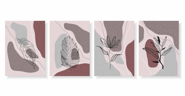 Абстрактные фоны с минимальными формами и линиями цветов и листьев