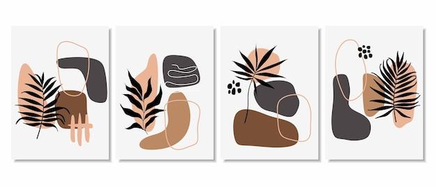최소한의 모양과 라인 아트 잎으로 추상적 인 배경.