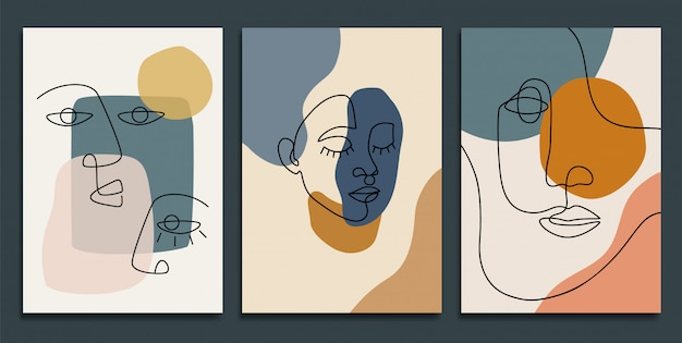 Abstract backgrounds with minimal shapes and line art faces.