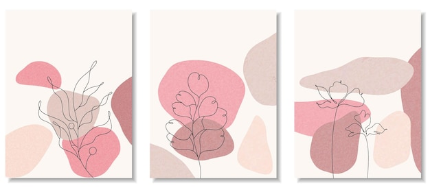 Abstract backgrounds with minimal shapes and line art flower and leaf.