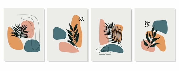 Abstract backgrounds with minimal shapes and line art leaf.