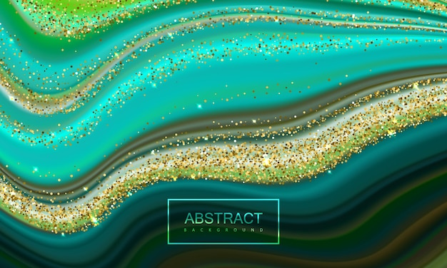 Abstract backgroung of liquid pouring colors with shiny golden glitters