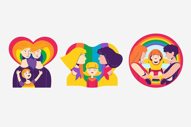 Abstract badges with pride couples and families