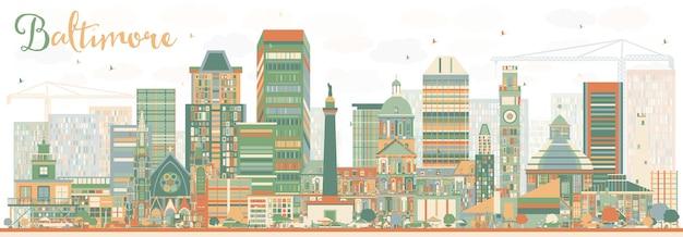 색상 건물과 추상 볼티모어 스카이 라인. 벡터 일러스트 레이 션. 현대 건축과 비즈니스 여행 및 관광 개념입니다. 프레젠테이션 배너 현수막 및 웹사이트용 이미지.