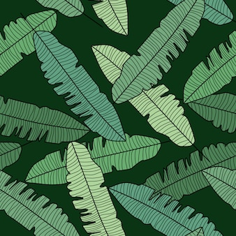 Abstract banana leaf seamless pattern on black background.