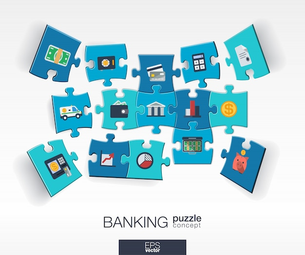 接続されているカラーパズル、統合されたアイコンと抽象的な銀行の背景。視点でお金、カード、銀行、金融の作品とインフォグラフィックコンセプト。インタラクティブなイラスト。