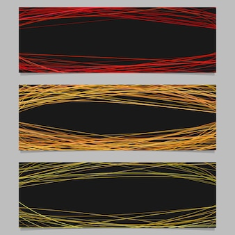 Abstract banner background template design set - vector illustration with random arched stripes on black background
