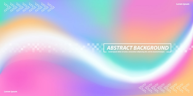 Abstract banner background with curves rainbow gadient mesh with dotes shapes