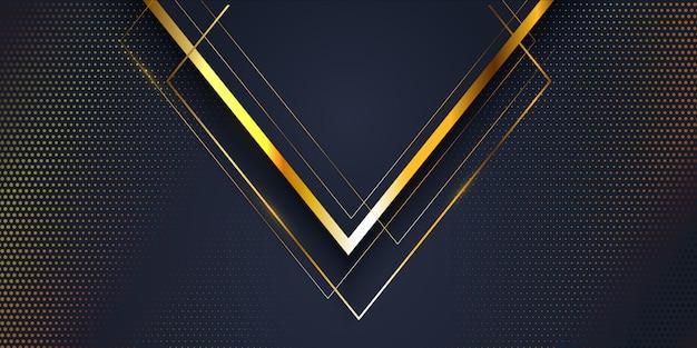 ゴールドとブルーのモダンな抽象的なバナーの背景