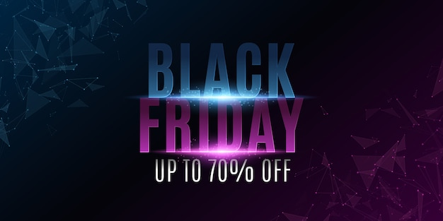 Abstract banner for black friday. glowing plexus triangles. tylish glowing text with flashes.