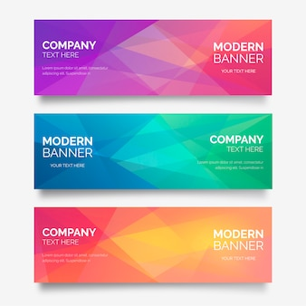 Abstract Banner Collection with Polygonal Shapes