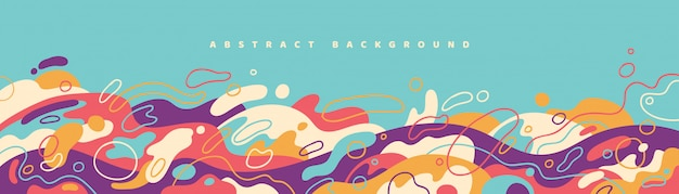 Abstract banner design with colorful fluid shapes.