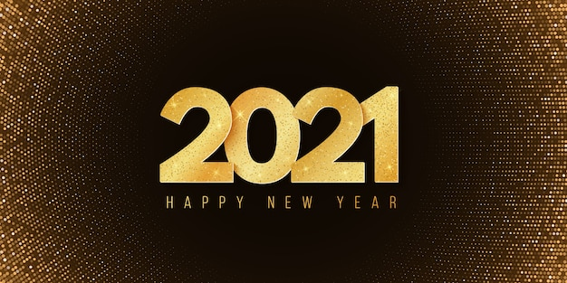 Abstract banner for happy new year 2021. festive background. halftone glowing pattern. golden glitter numbers.