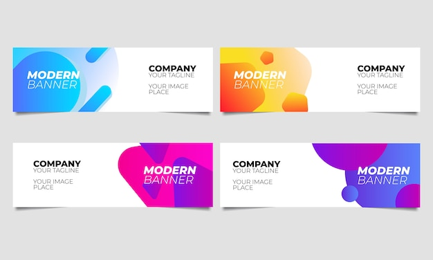 Abstract banner liquid shape gradient templates