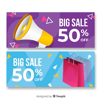 Abstract banner sale realistic objects collection