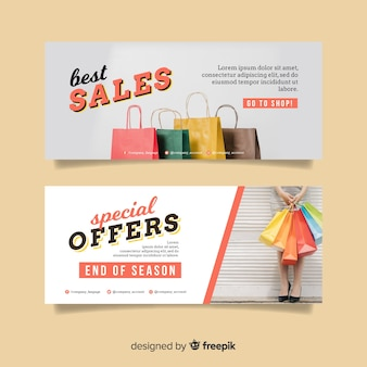Abstract banner sale with photo collection