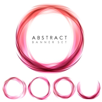 Abstract banner set in pink