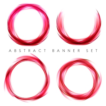 Abstract banner set in red