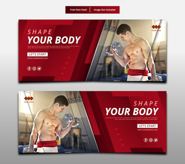 Abstract banner shape your body, fitness graphic layout template.