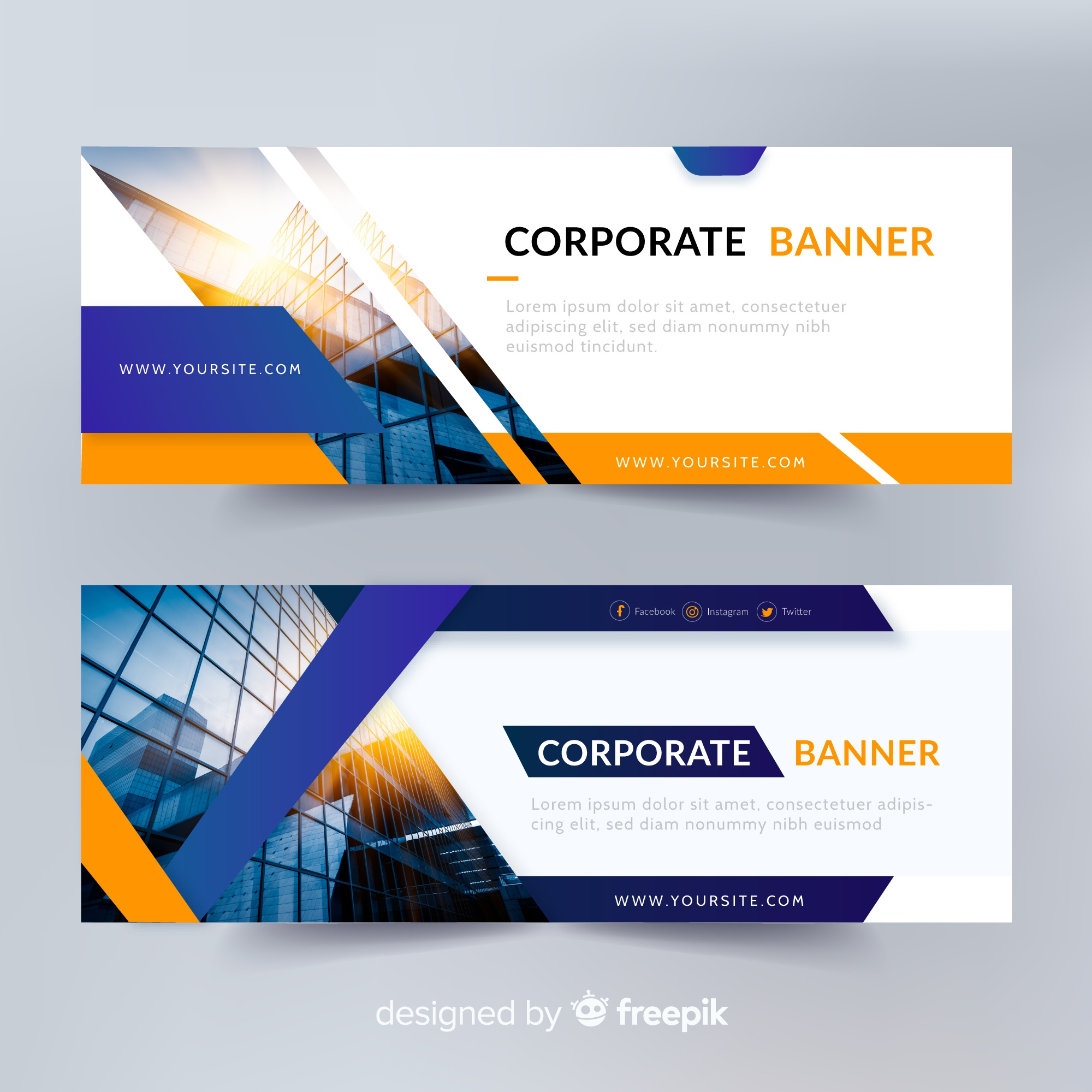 Abstract banner templates with photo