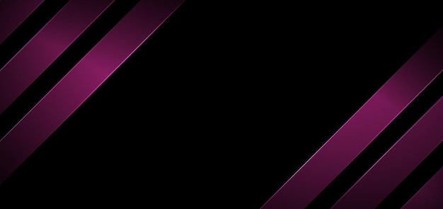 Abstract banner web stripes geometric diagonal lines pink color with lighting on black background.