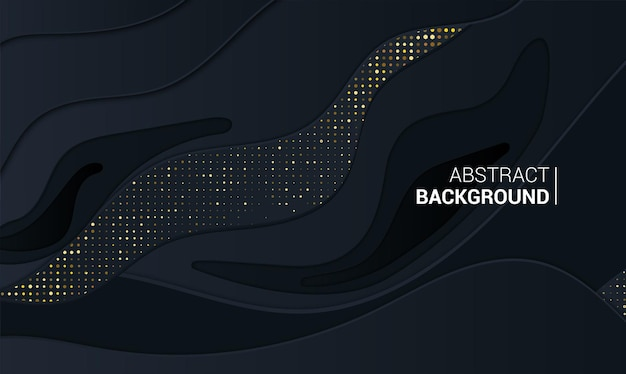 Abstract banner with 3d black background