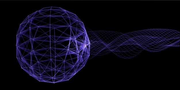 神経叢地球儀のデザインと流れる粒子と抽象的なバナー