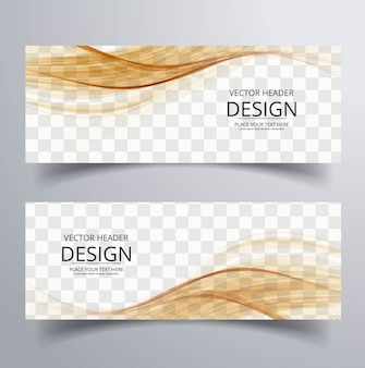 Abstract banner with brown wavy shapes