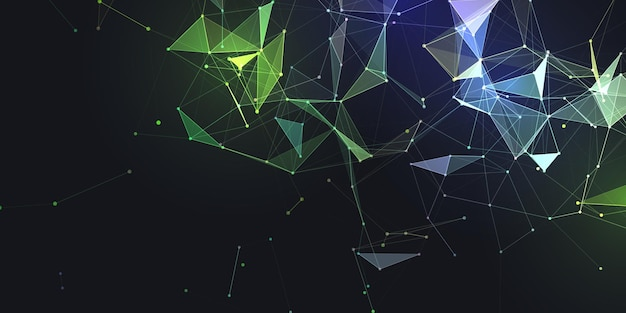 Abstract banner with modern low poly plexus design